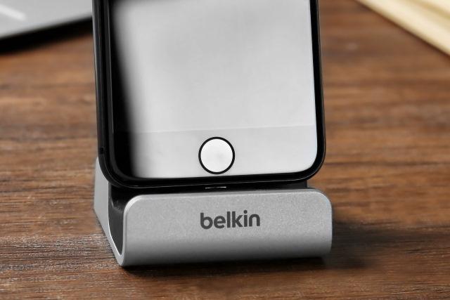 iPhone in Belkin dock