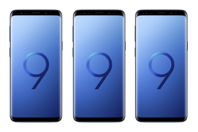 Three Samsung Galaxy S9 phones