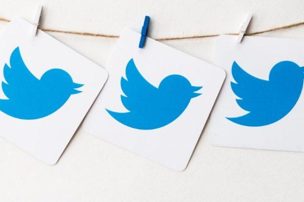 Hanging Twitter logos