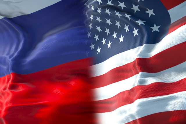 Russian and US flags