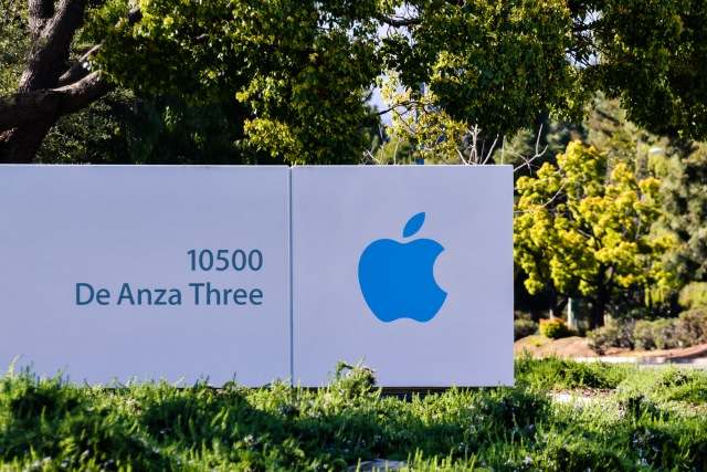 Blue Apple campus sign