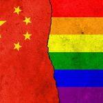 Chinese flag with rainbow flag