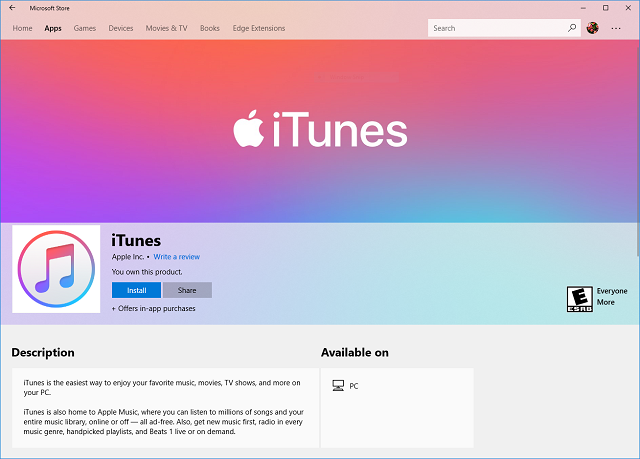 b00415f905 Apple embraces the Microsoft Store with iTunes for Windows 10