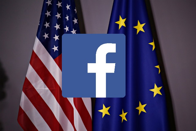 Facebook logo over US and European flags