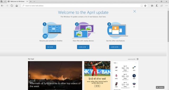 Windows 10 April Update in Microsoft Edge