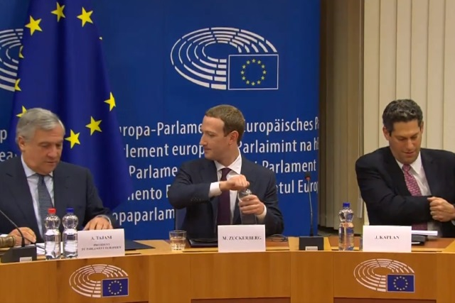 Mark Zuckerberg in front of European Parliament
