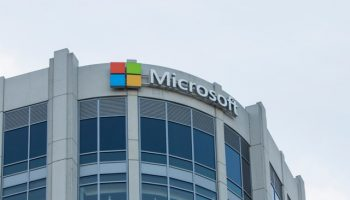Microsoft logo on curved building