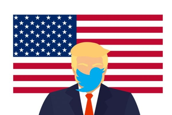 Donald Trump, Twitter face and US flag