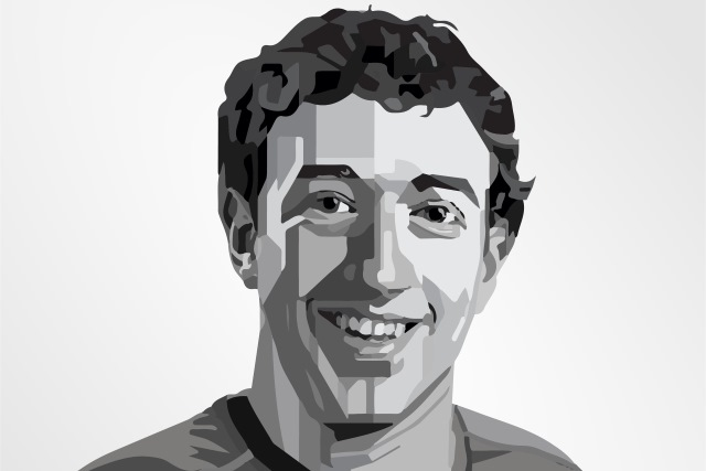 Black and white portrait of Mark Zuckerberg