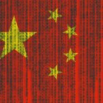 Chinese flag with Matrix code