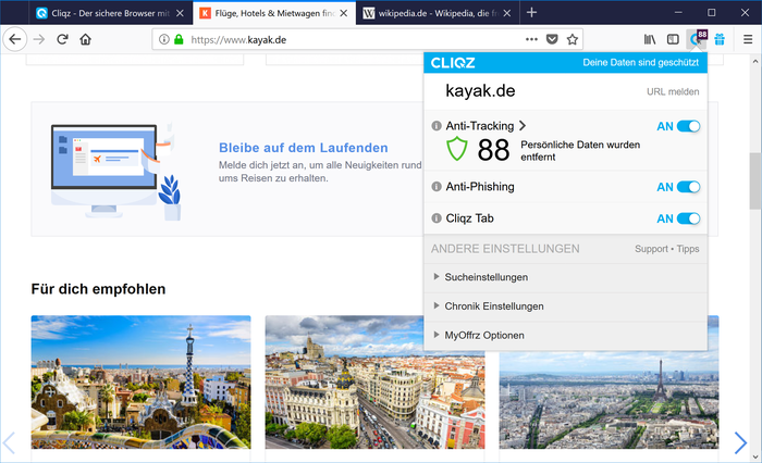 The Firefox-powered Cliqz web browser puts your security
