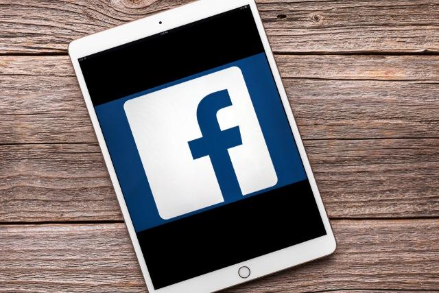 Facebook logo on an iPad Pro
