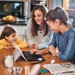 Parent and children at computer