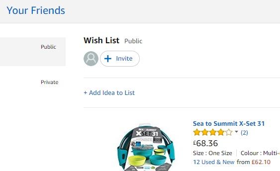 Amazon list invite button