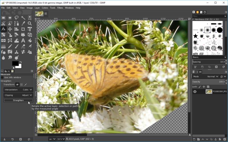 GIMP 2 10 4 adds Simple Horizon Straightening tool, improves font
