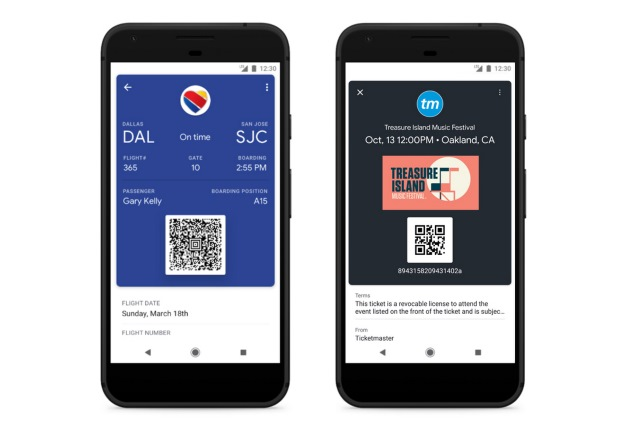Google Pay boarding passes