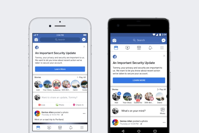 Facebook security notifications