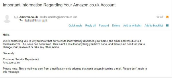 Amazon leak email