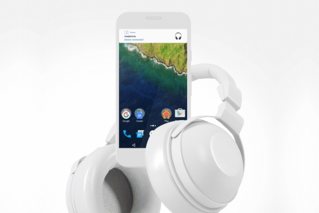 Android phone with headphones