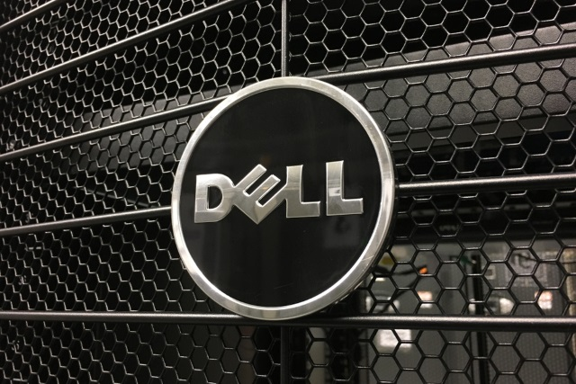 Black and chrome Dell logo