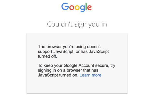 Google JavaScript warning
