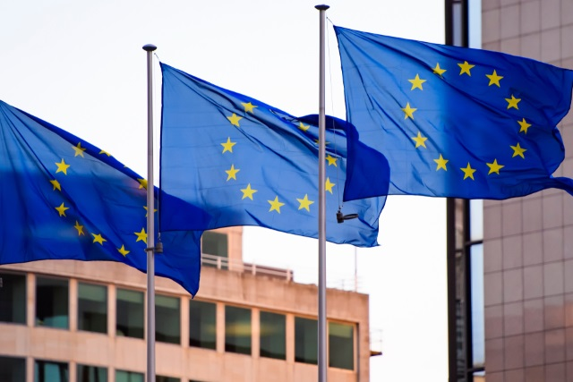 Three European flags