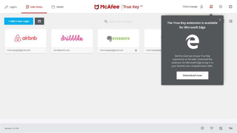 True Key by McAfee uses facial recognition to securely store
