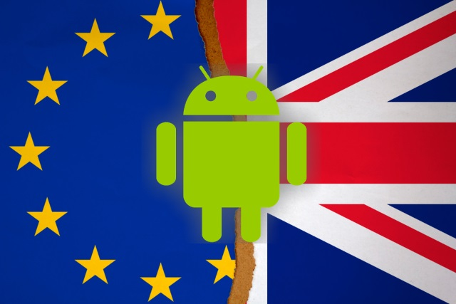European and Union flag with Android logo
