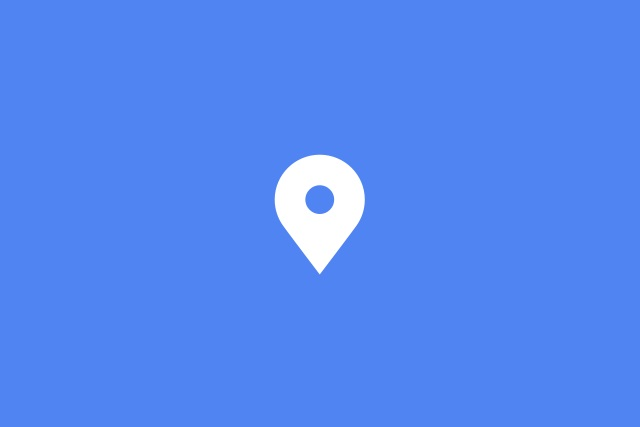 White location pin on a blue background