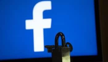 Facebook logo and padlock