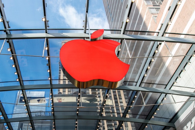 Rotes Apple Store-Logo