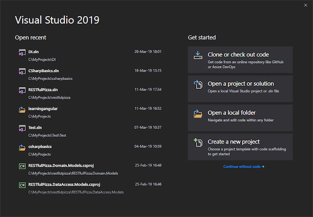 Visual Studio 2019 create new project