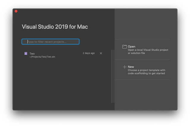 Visual Studio for Mac 2019 start menu