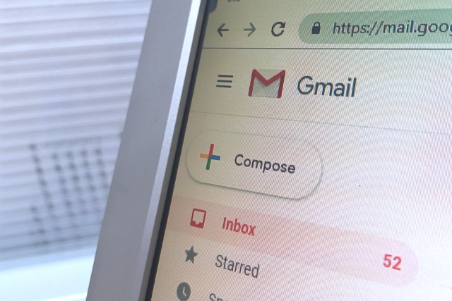 Close-up of Gmail on the web