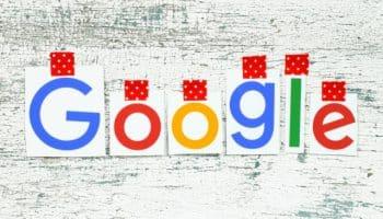 Google logo on white wood