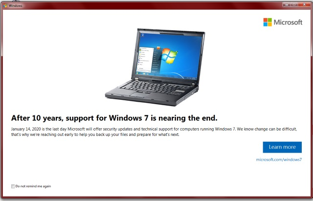 Windows 7 end of support message