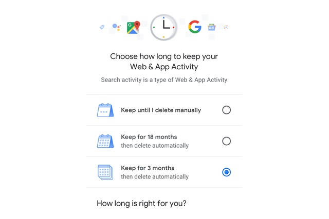 Google enabling auto-delete of search and location history
