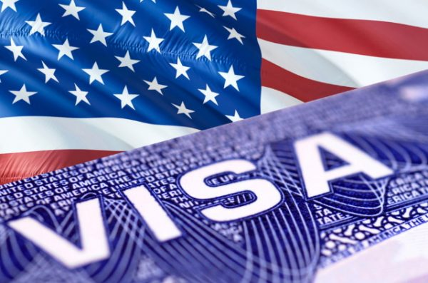 US flag and visa