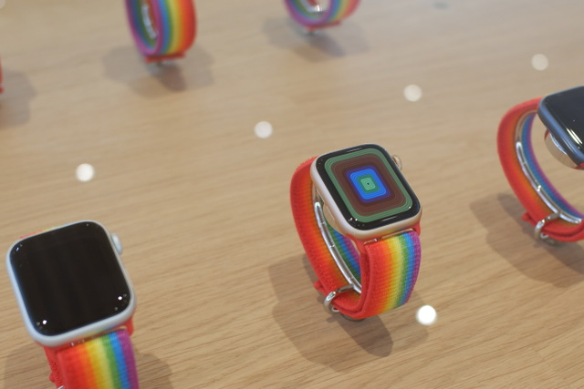 Apple Watch with rainbow strap