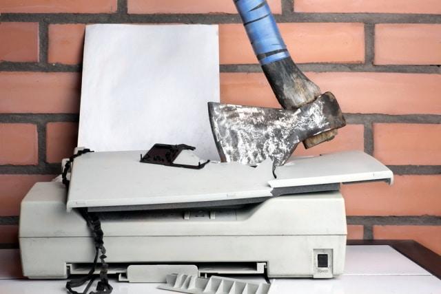 Smashed printer