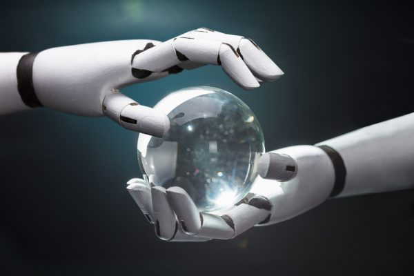 robot hands crystal ball