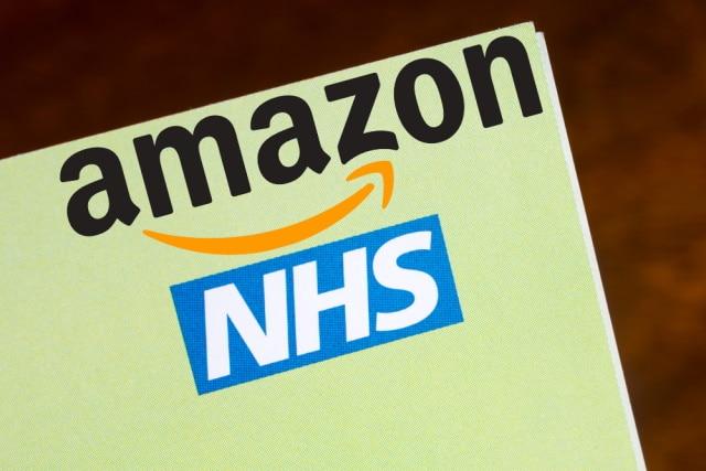 Amazon and NHS logos