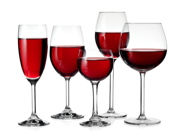 Five glasses of red wine
