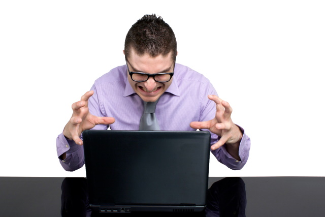 Frustrated laptop users