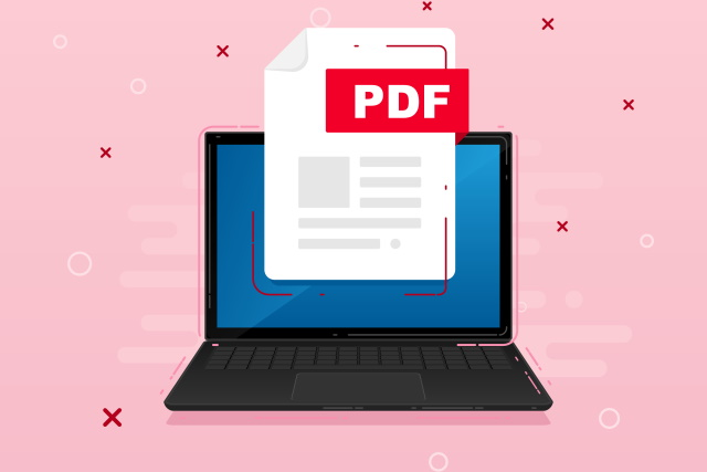 PDF icon on laptop