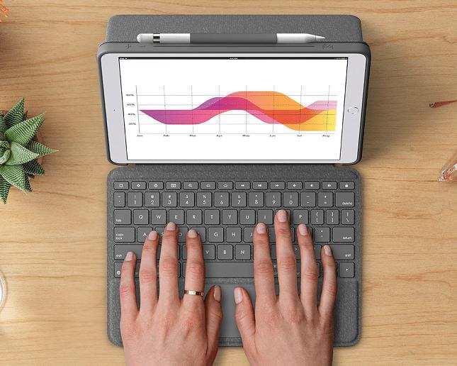 تحتوي حقيبة Logitech Combo Touch لأجهزة iPad على لوحة مفاتيح قابلة للفصل ولوحة تتبع مدمجة 1