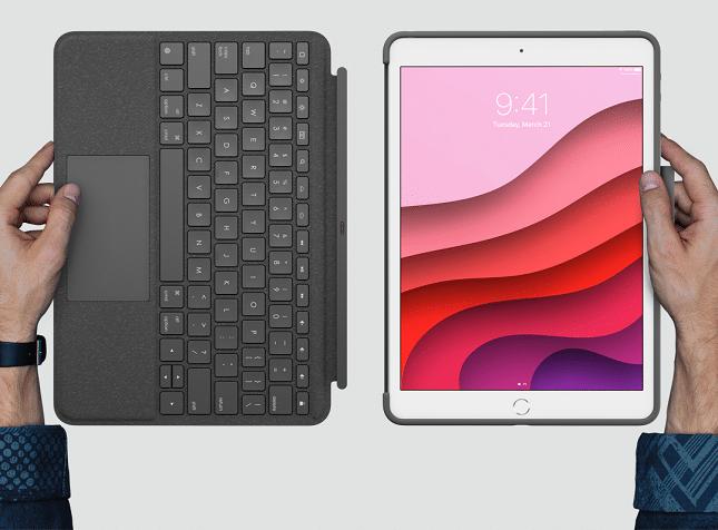 تحتوي حقيبة Logitech Combo Touch لأجهزة iPad على لوحة مفاتيح قابلة للفصل ولوحة تتبع مدمجة 3