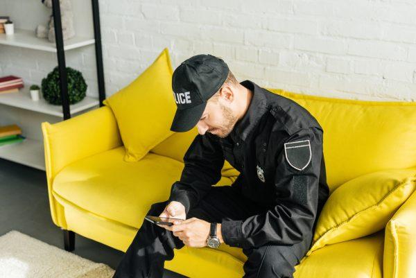 Policeman smartphone