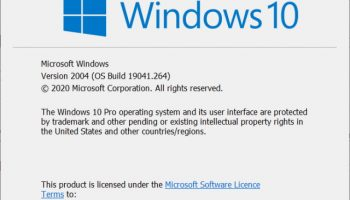 Windows 10 2004 About screen