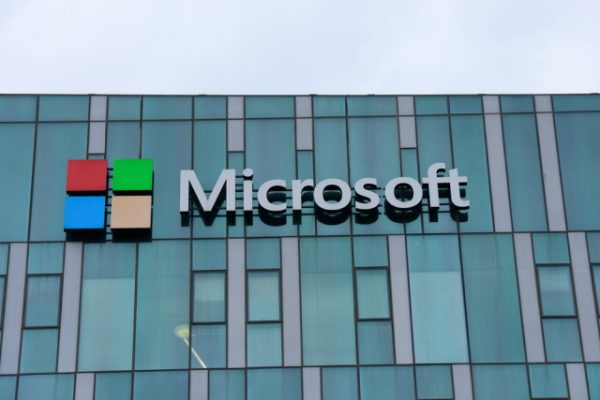 Microsoft sign on glass building